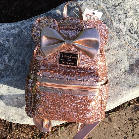88ce8b88097 Disney Parks rose gold Minnie sequin backpack